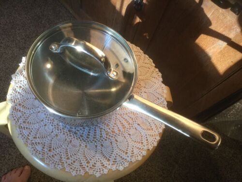 Pre Owned Kitchen A La Carte 2 Quart Saucepan with Lid Stainless Some wear.