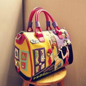 Women-Cartoon-Travel-Handbag-Colourful-Embroidery-Leather-Messenger-Shoulder-Bag