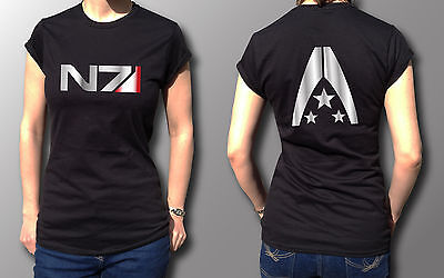 Mass Effect N7 Alliance Tribute Gamer Gift Metallic Print T-Shirt Womens Black