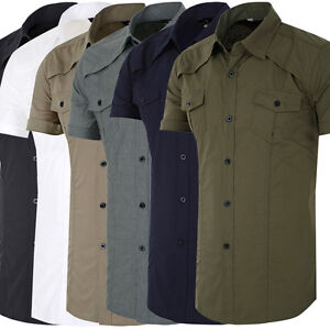 Newly Men's Military Shirts Short sleeve Button-Down Tops Casual ...
