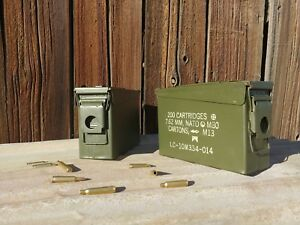 2 Pack - 30 Cal Ammo Can Army Military M19A1 Metal Surplus Storage Box 7.62 MM