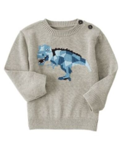 GYMBOREE SWEATER WEATHER GRAY DINOSAUR PULLOVER SWEATER 12 18 24 2T 3T 4T 5T NWT