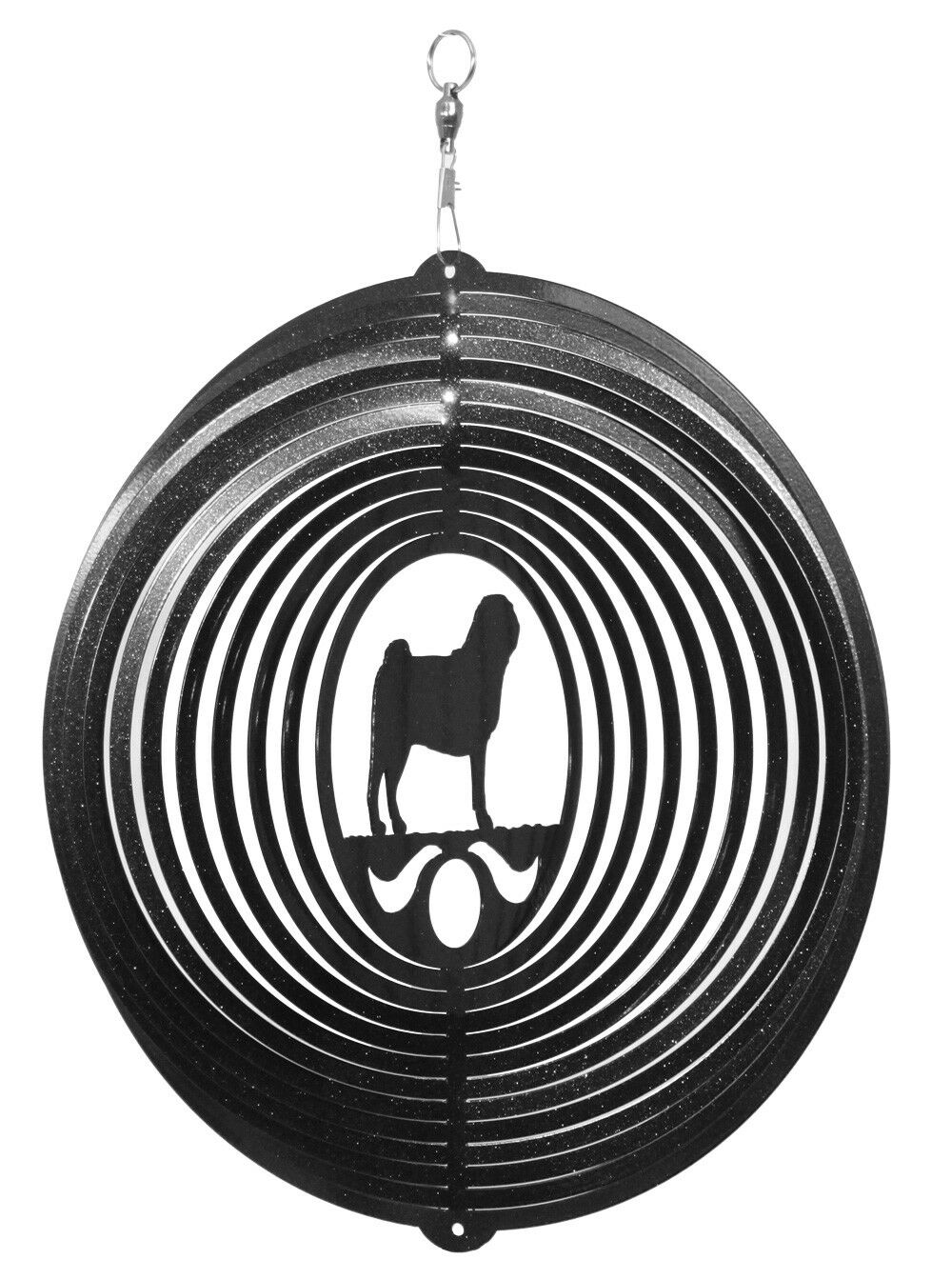 SWEN Products PUG Dog Circle Swirly Metal Wind Spinner