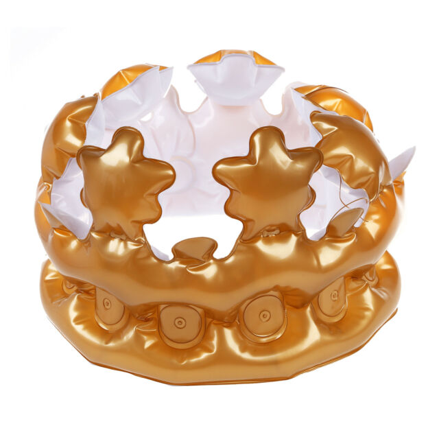 1PCS Inflatable Gold Crown King Queen The Day Costume Party Halloween O4J8
