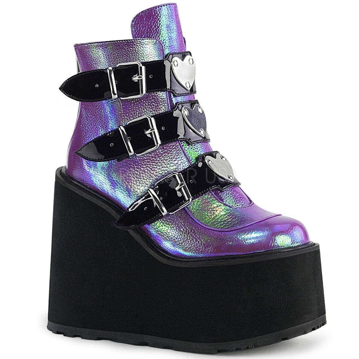 Purple Purple Purple Iridescent Mermaid Cyber Rave EDC shoes Platform Demonia Boots Womans 5fe34c