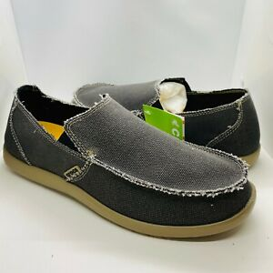 Crocs-Men-039-s-Santa-Cruz-Black-Khaki-Frayed-Edges-Loafers-Size-14-NWB-10128-062