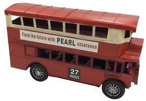 De-Coleccion-Clasico-Rojo-Doble-Decker-Autobus-Tin-Metal-34cm-longitud-Coleccionable