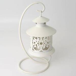 Bomboniere Matrimonio Lanterna.Lanterna Bianca Porta Candela Su Stand Metallo H20 Cm Bomboniera