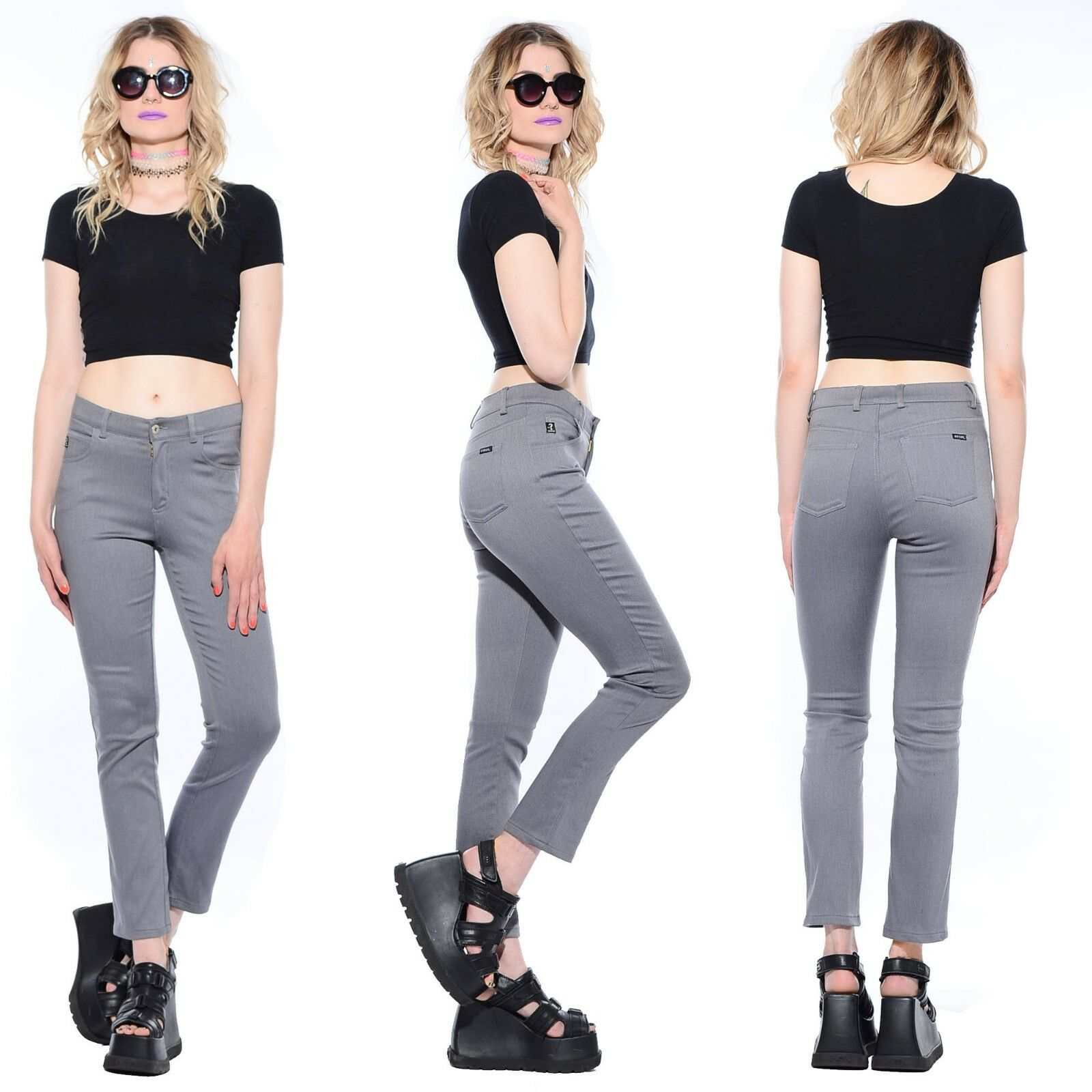 Vtg 90s GUESS JEANS Stretch HIGH WAIST Slim Skinny Fit Taperot Leg Disco Pants M
