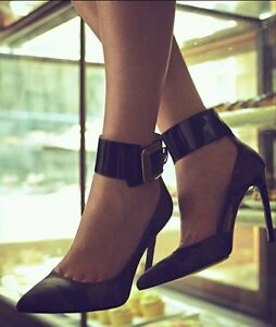 7a6774efdcb1  148 GUESS Black Leather SUEDE Ankle Strap Super Sexy Stiletto Pumps ...