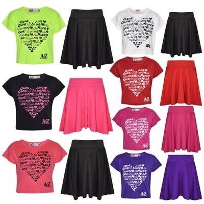 A2Z 4 Kids/® Girls Top Kids Selfie Print Stylish Crop Top /& Fashion Skater Skirt Set New Age 5 6 7 8 9 10 11 12 13 Years