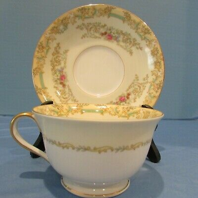 Vintage 1930s Footed Cup and Saucer  Noritake  Pattern Classic  Tea Party Anyone? 4 in stock