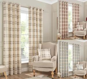 One-Pair-Of-INTERIORS-NewPort-Check-Brushed-Half-Panama-Eyelet-Lined-Curtains