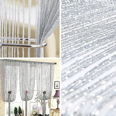 Silver Glitter  Beaded String Curtain Divider  Door Window Screen Decoration