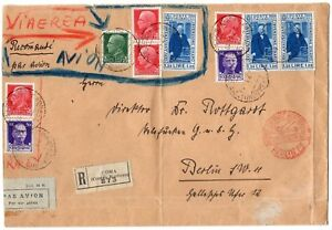 Regno-3-pezzi-Invenzione-dinamo-Pacinotti-su-raccomandata-via-aerea-1934