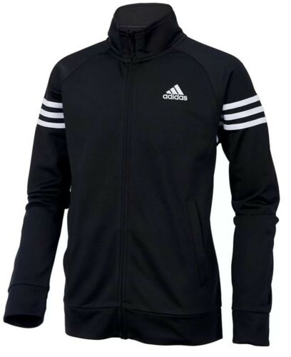 NWT ADIDAS BOYS SIZE MEDIUM 10//12 ~BLACK//WHITE FULL ZIP EVENT JACKET MSRP $45.00