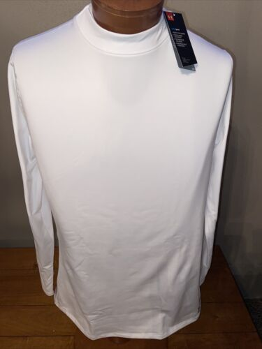 NWT Men/'s ColdGear® Armour Fitted Mock Shirt  Style  1320805  WHITE  XL  $50.00