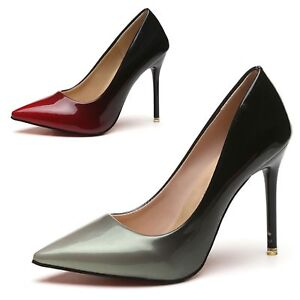65047a0fc0cee Pointed Toe High Heels Faux Leather Patent Ladies Two Tone Vintage ...