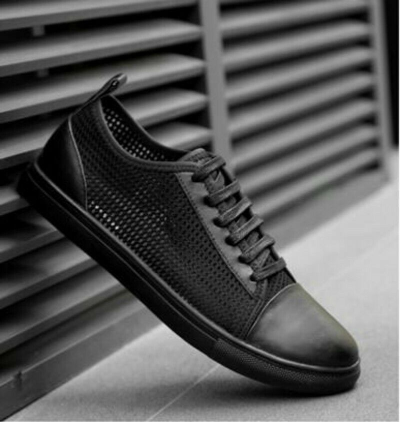 Mens Round Toe Cross Strap Flat Heel Breathable Leisure Athletic shoes Fashion