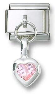 Italian-Charm-Sterling-Silver-Pink-CZ-Dangle-Heart-October-Stainless-Steel-Link