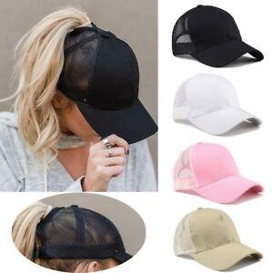 2018 Ponytail Baseball Cap Women Messy Bun Baseball Hat Snapback Sun ... 893b90a9199