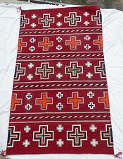 """LG Navajo Churro Serape / Traditional Hubbell Crosses Rug w Indigo! 54"""" x 90"""" NR"""
