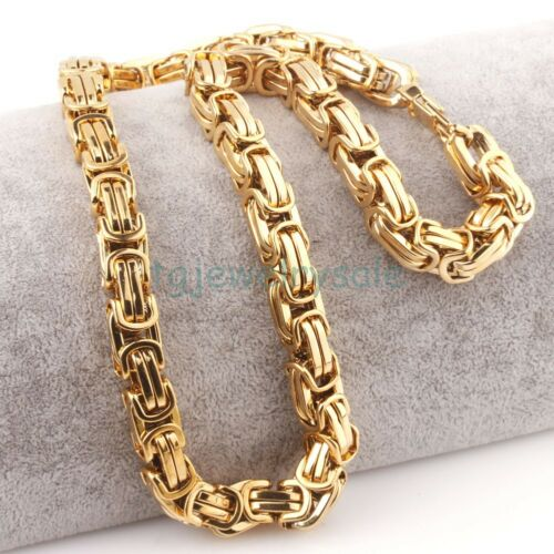 Gold Tone Byzantine Chain 12mm Stainless Steel Mens Heavy Necklace Chain 24inch