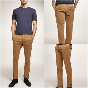 Ex-Topman-Men-039-s-Mustard-Stretch-Slim-Fit-Chinos-Trousers-RRP-25-00