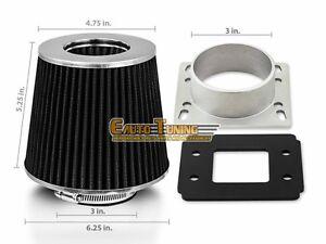 Mass Air Flow Sensor Intake Adapter BLACK Filter For 86-94 Mazda 323 1.6L L4