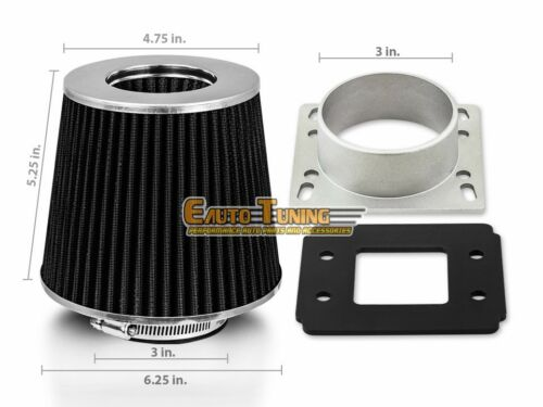 BLACK Filter For 95-97 01-03 B2300 2.3L L4 Mass Air Flow Sensor Intake Adapter