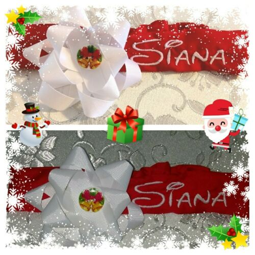 Personalised HANDMADE CHRISTMAS GIRL HAIR BAND NAME GIFT WHITE RED XMAS DAUGHTER
