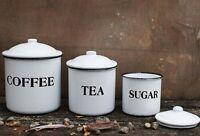 Vintage Style Enamel Canister Set French Country Farm Kitchen Decor Coffee Tea