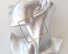 """SPLENDIDA grande pianura Gold Tone forma quadrata Orecchini a cerchio-Nuovo - 9cm - 3.5"""""""