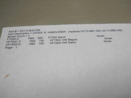 1982 Details about  /Honda NOS FT500 Right Handlebar Lever VF750 # 53175-MJ6-006   k