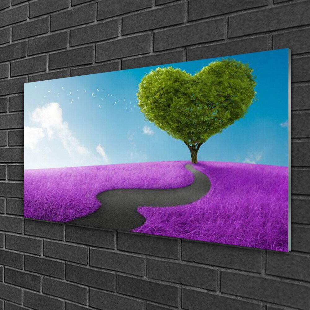 Tableau sur verre Image Impression 100x50 Nature Prairie Arbre Sentier