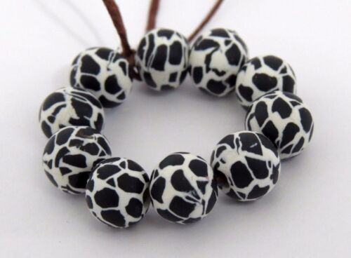 10 pieces, Beads, Black and white beads, clay beads, DIY Crafts, animal print