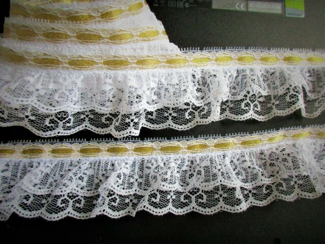 Double layer ruffle lace trim with GOLD Metalic ribbon - price for 1 yard