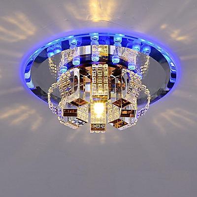Blue Light Modern LED Crystal Ceiling Pendant Lamp Fixture Chandelier Home Decor