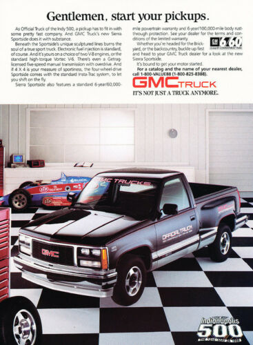 1988 GMC Sierra Truck Indy 500 garage Classic Advertisement Print Ad H52J76