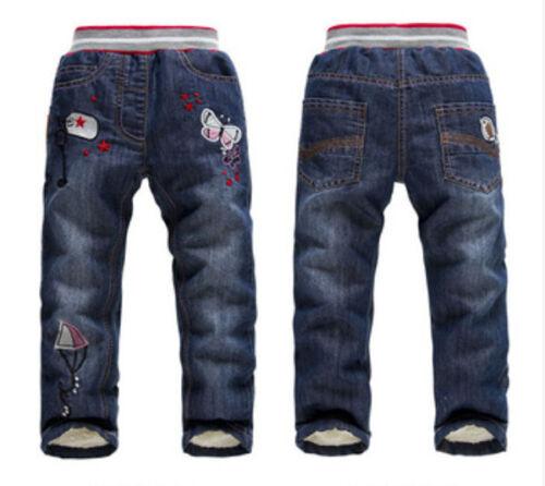 Kids Baby Girls Winter Fleece Denim Jeans Casual Pants Thick Children Trousers