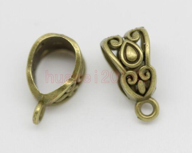 10/20/40pcs Tibetan Silver 6mm Hole Charm Bail Connector Bead Fit Bracelet