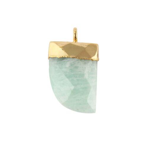 11x16mm Tiger Nail Shape Natural Gemstone Gold Plated Single Bail DIY Connectors