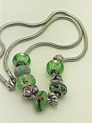 "Green Quartzite Beads Necklace 28/"" Simulated Diamond Green Murano Style Glass"