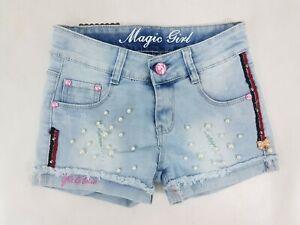 Pantalones Cortos Ninas Adolescentes Azul Rasgada Perlas Denim Jeans Para Ninos De Verano De 4 A 14 Anos De Edad Ebay