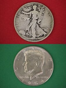 MAKE-OFFER-1-00-Face-Value-Walking-Liberty-1964-Kennedy-Half-Dollars-90-Silver