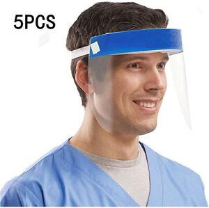 5Stueck-Transparent-Face-Shield-mit-Anti-Spritzmaske-Anti-Speichel-Gesichtsschutz