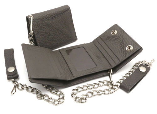 Trifold Gray Genuine Leather Wallet with Scale Texture Design with a Chain