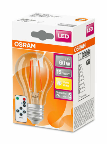 OSRAM LED STAR STEP Remote A60 E27 Filament Lampe dimmbar mit Fernbedienung