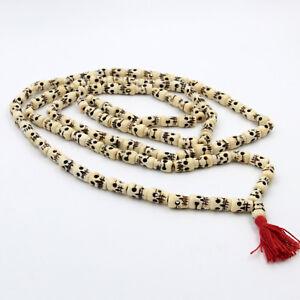 Kali Mala 160cm Portée Rosaire Tête de Mort Hindouisme Yakbone Blanc Inde XL