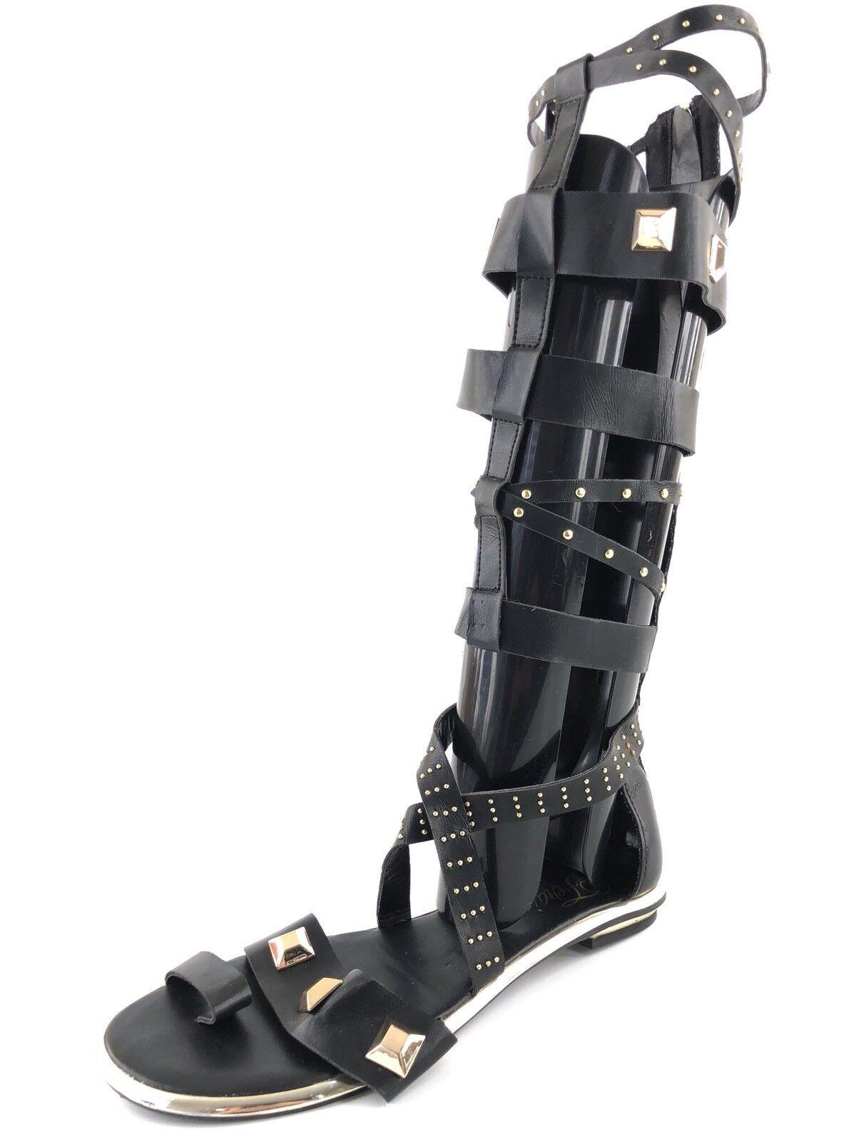 Fergie Savannah Black Zip Up Knee High Gladiator Sandals Womens Size 7 M